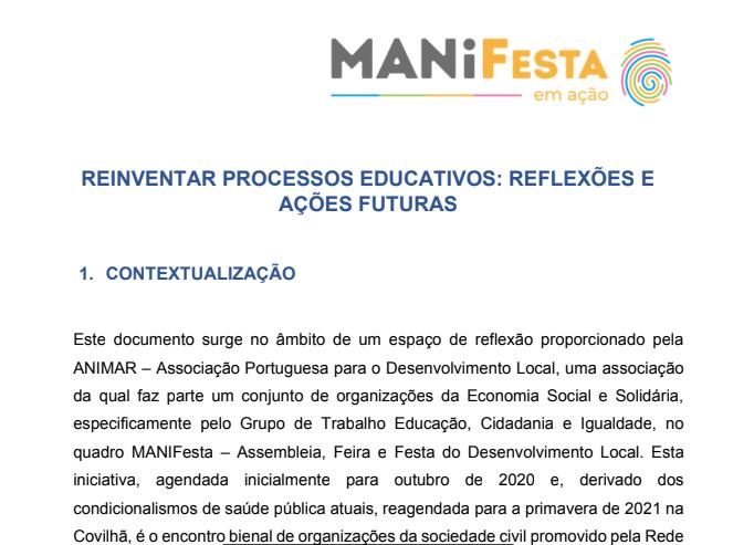 """""""Reinventar Processos Educativos: reflexões e ações futuras"""""""