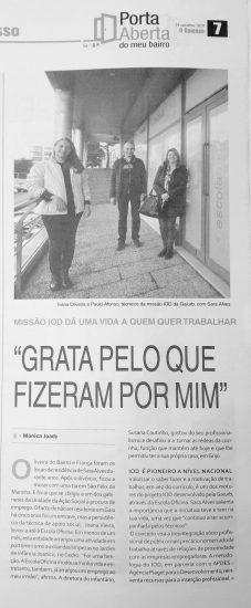 Os Serviços IOD foram reconhecidos no jornal O Gaiense pela voz de Sara Alves, profissional integrada numa das empresas do concelho